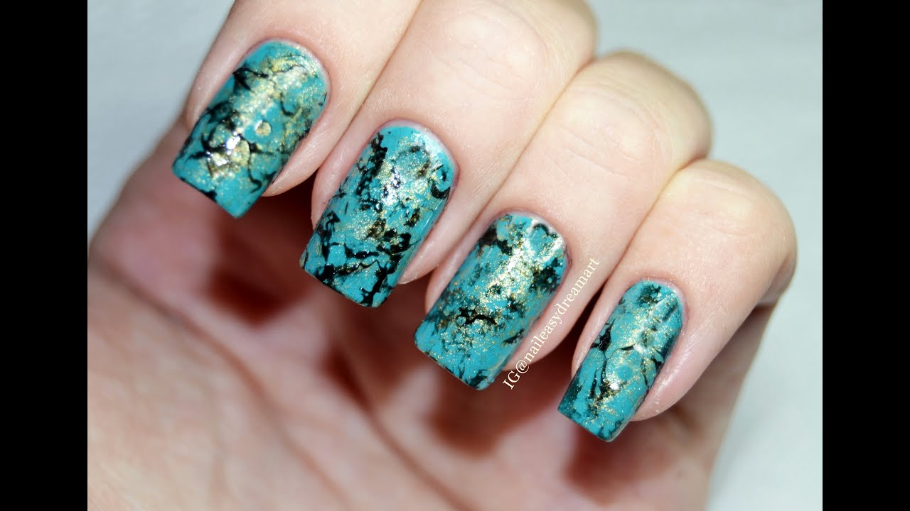 Diy Turquoise Water Marble Stone Nails Малахитовый