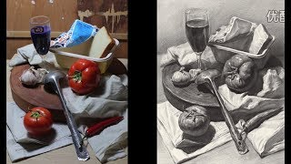 Still Life Drawing in Pencil with reference photos