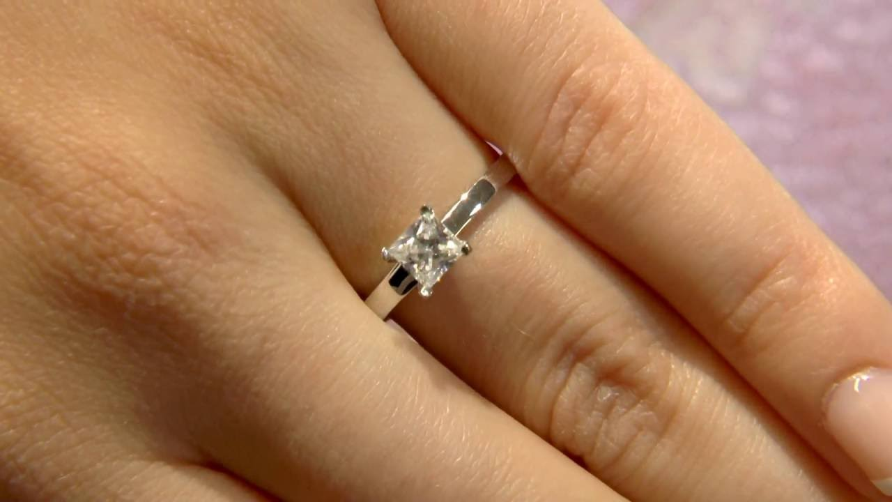 0.50 Carat Princess Cut Solitaire Engagement Ring SR1046 - YouTube aaa2940b3