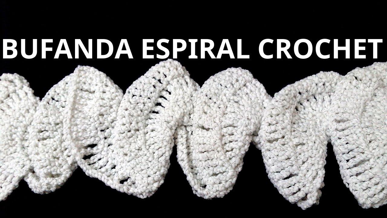 Como hacer una Bufanda Espiral en tejido crochet tutorial paso a ...