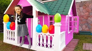 Öykü and Dad play with colored eggs surprise toys - For Kids Funny Oyuncak Avı