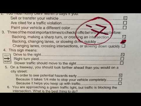 2017 - 2018 California DMV Written Permit Test ACTUAL EXAM-Original Exam #1