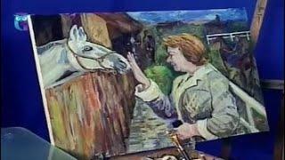 """Уроки рисования (№ 144). Рисуем картину """"Ласка. Женщина с жеребенком"""""""