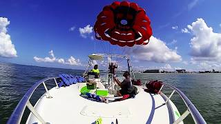 Parasailing with wind and water sports