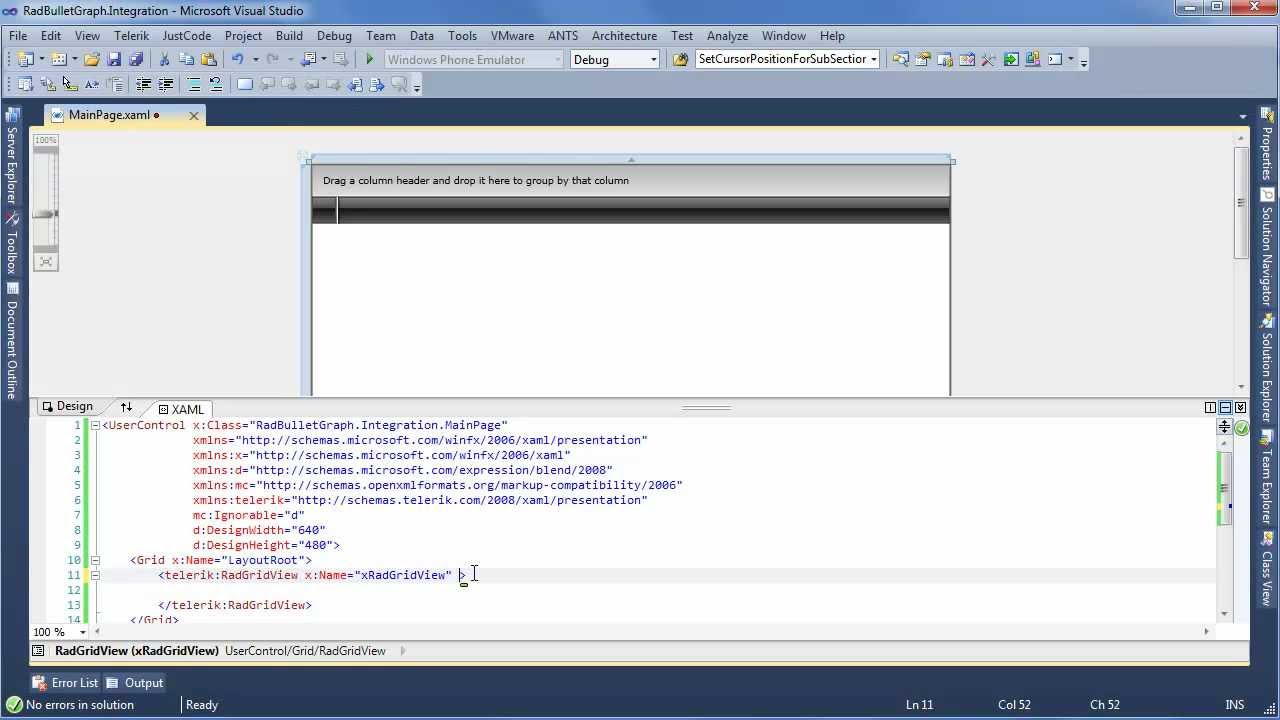 BulletGraph - Part 3: Integrating RadBulletGraph with RadGridView  (Silverlight & WPF)
