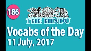 Daily The Hindu  Vocabulary (11 July, 2017) - Learn 10 New Words with Tricks | Day-186