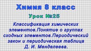 Химия 8 класс (Урок№25 - Классификация химических элементов.Периодическая таблица Д. И. Менделеева.)