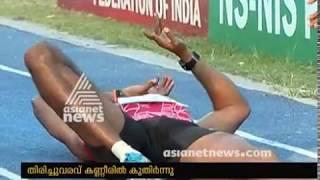 Athlete Renjith Maheshwary injured during Triple jump performance