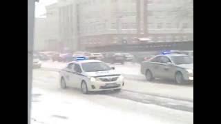 Кортеж  Владимира Путина В Новосибирске