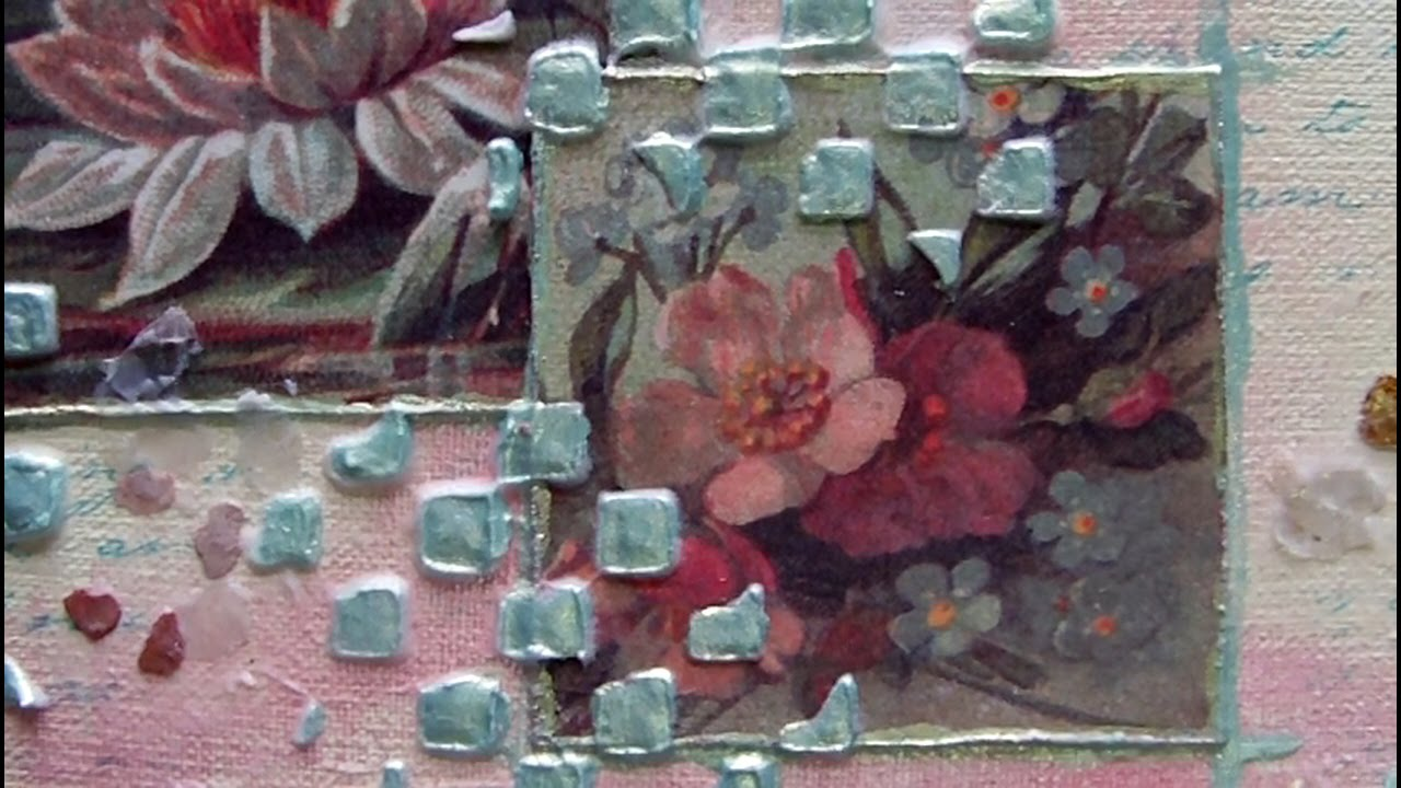 Mixed media art canvas vintage floral youtube