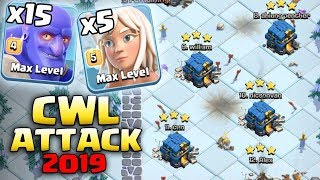 Clan War Leagues Th12 Attack - 15 Bowler + 5 Healer + 4 Witch 3Star TH12 War Clash of Clans