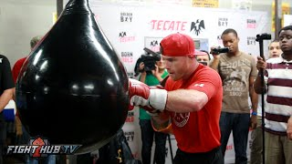 Canelo vs. Smith Video- Canelo Alvarez WRECKS the aqua bag! Shows scary power