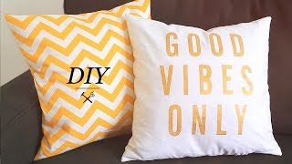 DIY PILLOW CASES(This week we show you a super easy way to make pillows to brighten up your couch or bed. We made a yellow chevron design and