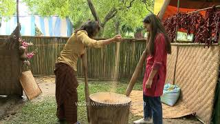 How Rice is pounded in Bhutan - wildfilmsindia crew shows you how!