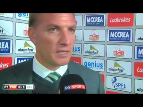 Brendan Rodgers interview Partick thistle 0-5 Roberts world class finish  what a team 18 th may 201