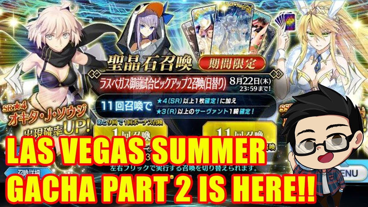 Summer Las Vegas Gacha Pt 2 Okita San Daishouri Altria Bunny Leviathan Melt Fate Grand Order Youtube