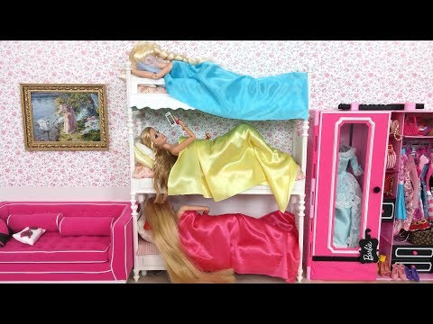 Thumbnail: Barbie Elsa Rapunzel Bunk Bed Bedroom Morning Routine باربي الروتين الصباحي Barbie Rotina da manhã