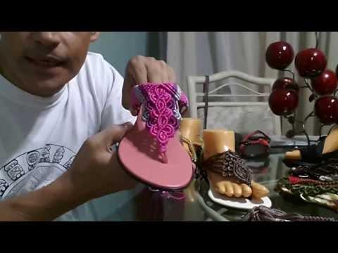 Sandalias hechas con macrame - YouTube