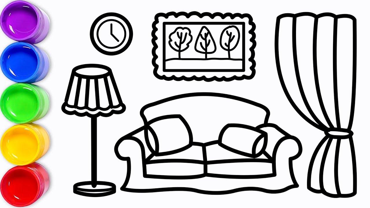 Cara Menggambar Dan Mewarnai Ruang Keluarga Untuk Anak