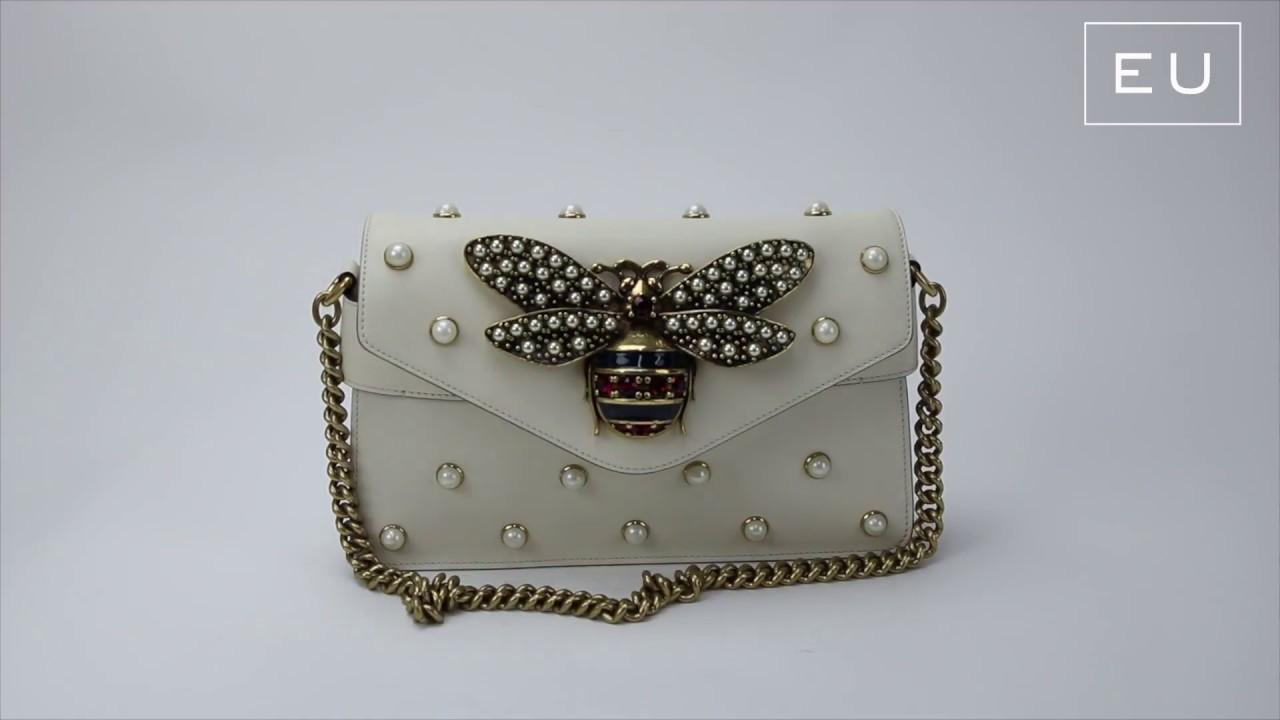 8ee77a667 Bolsa Gucci Broadway Abelha Couro Off-white | Etiqueta Única - YouTube