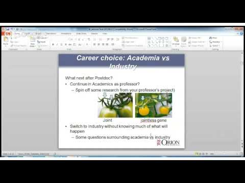Kuliah Online I-4 23 Juni 2013, Research and Career Development in Industry  or Biotech Company