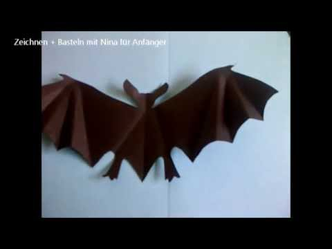 halloween deko fledermaus aus papier basteln einfach youtube. Black Bedroom Furniture Sets. Home Design Ideas