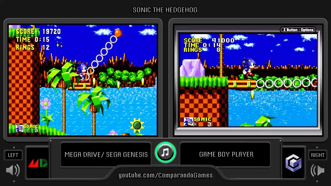 Sonic The Hedgehog Genesis Vs Gba Side By Side Comparison Game Boy Player Youtube