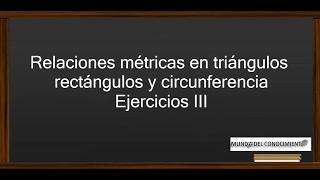 Relaciones métricas en triángulos rectángulos y circunferencia - Ejercicios III