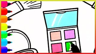 Coloring makeup items - Glitter Makeup Tool Drawing And Coloring Pages For Kids