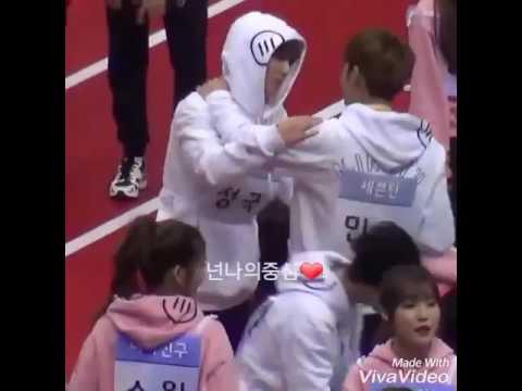 170116 Isac 2017 Bts Jungkook And Seventeen Mingyu Interaction
