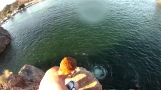 me and my friend jumping off the cliff at parker river az 2012 (GoPro)