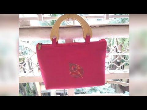 DIY Hand Embroidered Purse, Wood Handle Handbag, Handmade Purse
