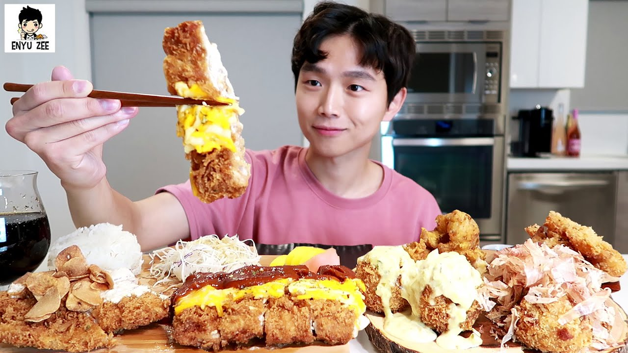 SUB)CRUNCHY KATSU WITH CHEESE & ASSORTED FRIED APPETIZERS [💗돈까스와 튀김친구들] 먹방