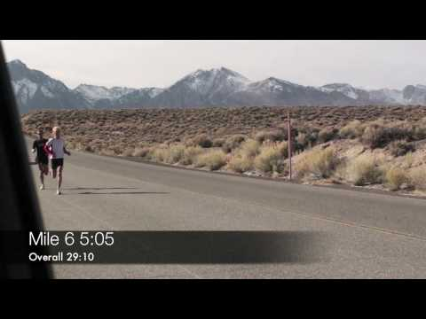 Josh Cox 8 mile tempo B4 Cal International Marathon Mammoth Lakes, CA