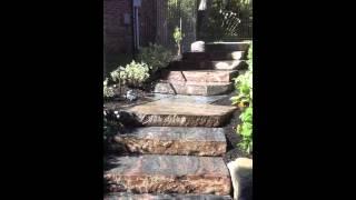Walk through of  Backyard Oasis with Muskoka Granite staircase