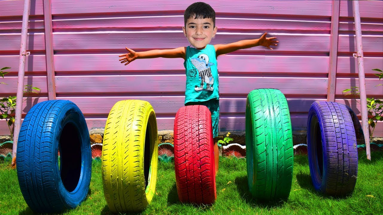 Fahad play with coloring tires for kids - Kinderlieder und lernen Farben