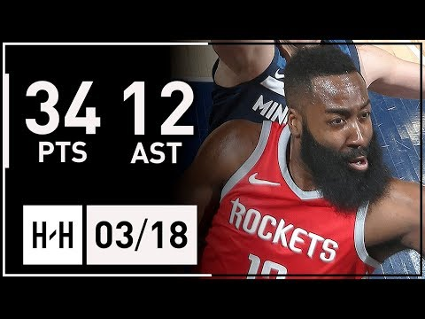 James Harden Full Highlights vs Timberwolves (2018.03.18) - 34 Points, 12 Assists, CLUTCH!