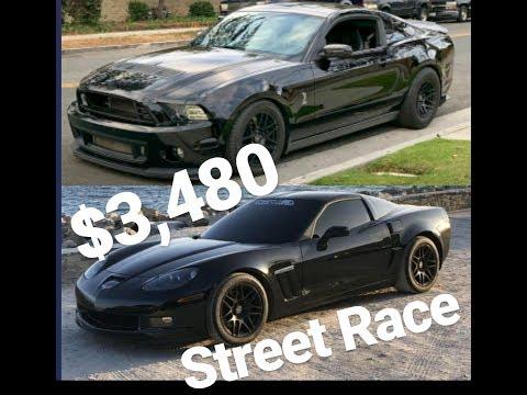 Shelby GT500 vs Corvette $3,480 Street Race