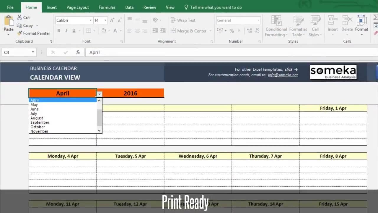 Automatic Calendar Maker from Excel List - Spreadsheet Template