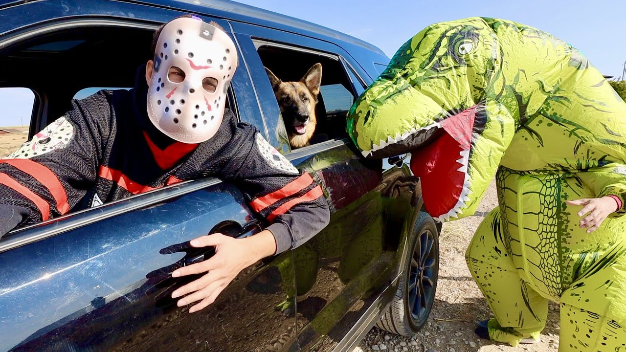 T-rex Surprises Jason & Dog With Car Ride Chase!