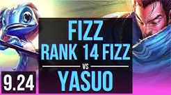 FIZZ vs YASUO (MID) | Rank 14 Fizz, 3 early solo kills, 9 solo kills | Korea Grandmaster | v9.24