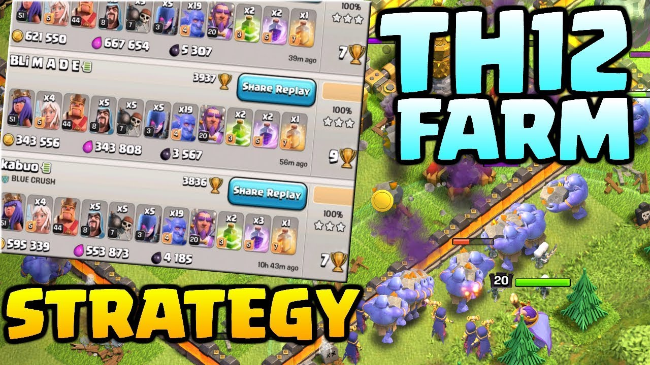 TH12 FARM STRATEGY - CRAZY LOOT in Clash of Clans! BoWitch Attack Strategy at Town Hall 12!