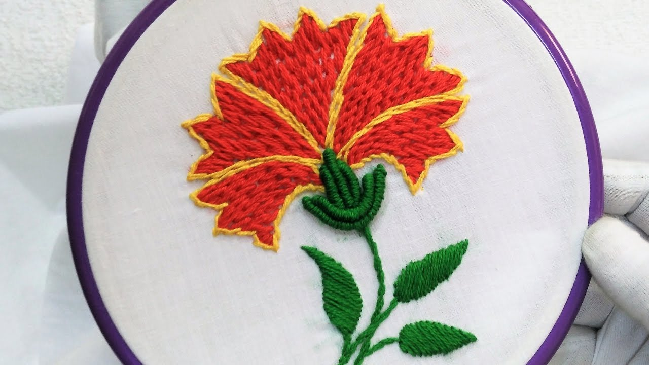 Table cover embroidery designs - Hand Embroidery Beautiful Flower Stitch Design For Dress Shirt And Bed Table Cover Et Cetera