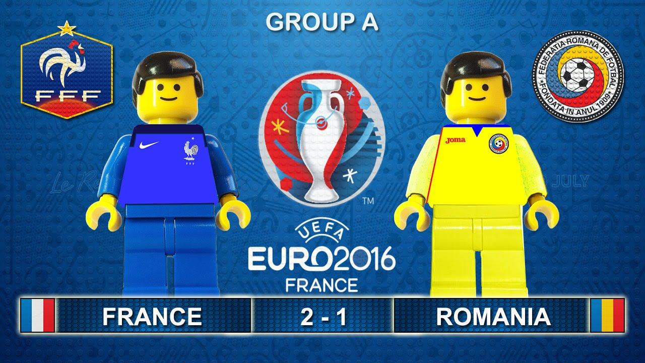 euro 2016 france vs romania 2 1 opening match lego football highlights france roumanie youtube
