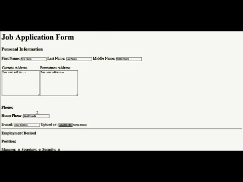 How To Create Job Application Form In Html | Html Tutorial