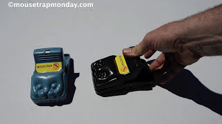 Cat Face Snap Trap With Huge Plastic Teeth. Black Cat Best Spring Snap Trap In Action. thumbnail