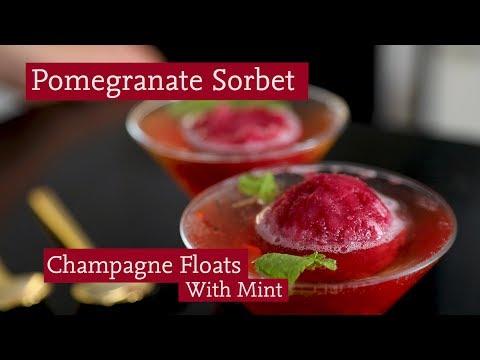 Pomegranate Sorbet Champagne Floats