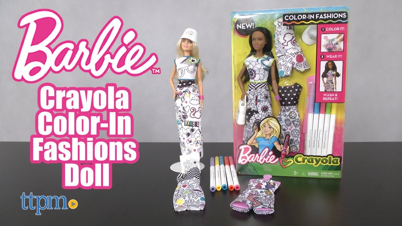 Barbie Crayola Color In Fashions Doll From Mattel Youtube