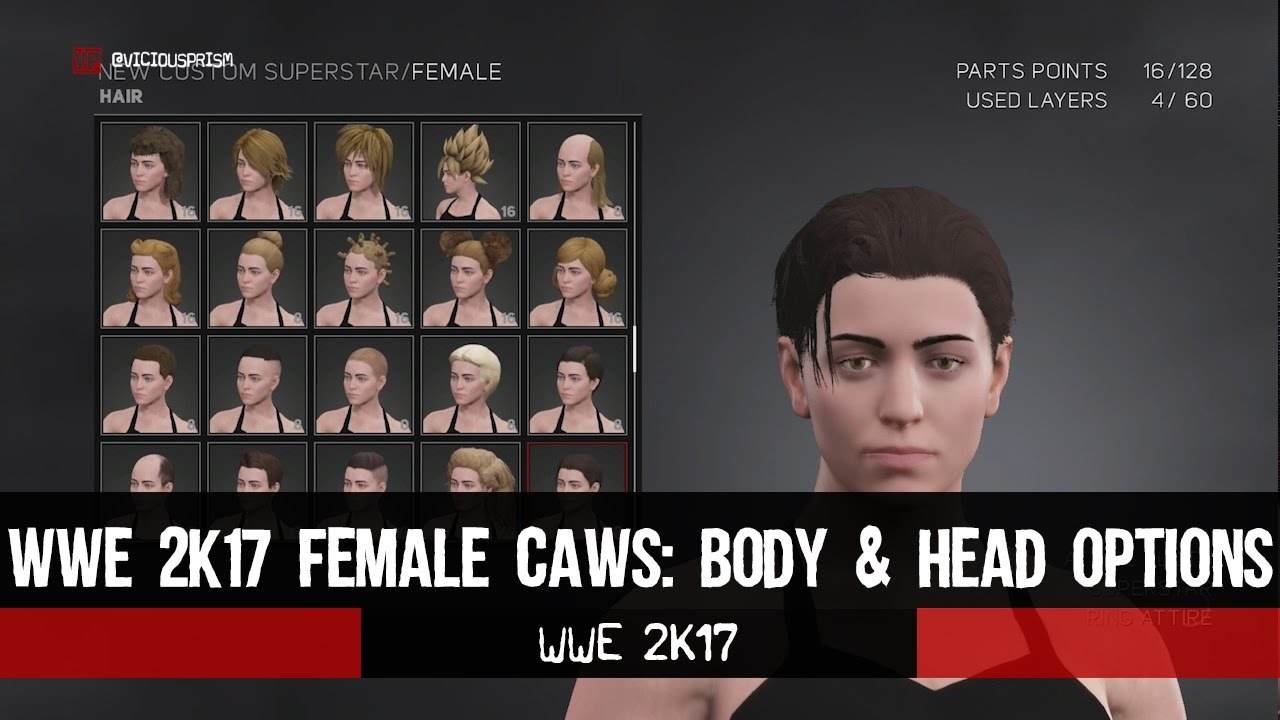 Wwe 2k17 Caw Mode Female Head Body Customization Viciousprismcom