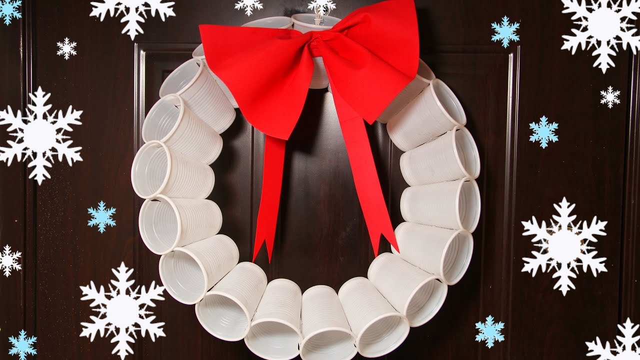 Recycled Christmas Crafts Plastic Cups Wreath Christmas Tree Ornaments Youtube
